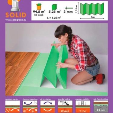 Подложка-гармошка Solid 3 мм Зелёная - купить в «Начни Ремонт» интернет-магазин — продажа напольных покрытий.