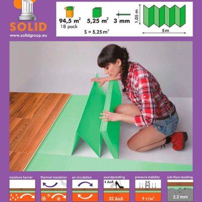 Подложка -гармошка Solid 3 мм Зелёная