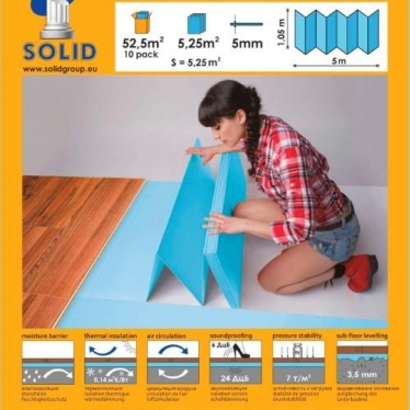 Подложка-гармошка Solid 5 мм Синяя - купить в «Начни Ремонт» интернет-магазин — продажа напольных покрытий.