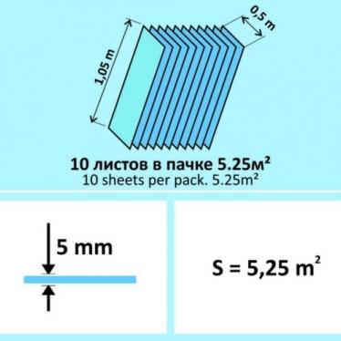 Подложка Листовая Solid 5 мм Синяя - купить в «Начни Ремонт» интернет-магазин — продажа напольных покрытий. - 1