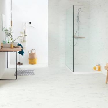 Виниловый ламинат Quick-Step Мрамор каррарский белый 40136 Ambient Click - купить в «Начни Ремонт» интернет-магазин — продажа напольных покрытий. - 3